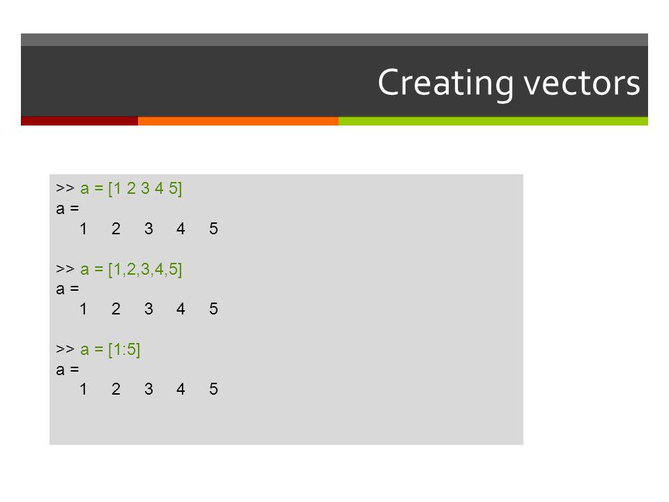 Creating vectors >> a = [1 2 3 4 5] a = 1 2 3 4 5
